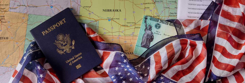 Preparation application stimulus economic tax return check 1040 u.s. individual income tax return american passport on u.s. map