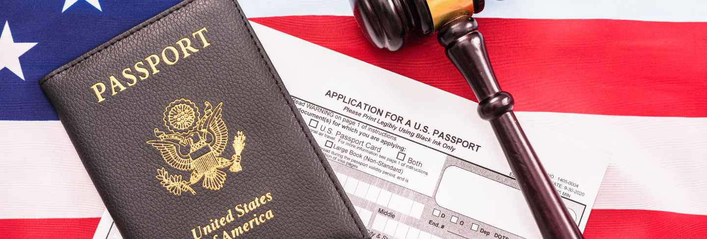 Concept of application form to get a new american passport