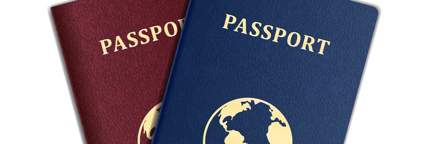 Vector passports with map isolated